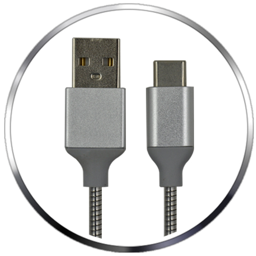 Metallic Braided USB-C to USB-A 2.0 Data and Charge Cable
