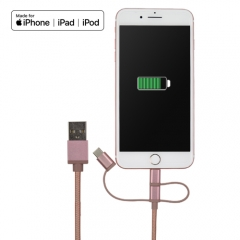 MFi Lightning / Micro USB / USB C 3 in 1 cable for charging and data transfer