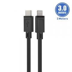Tough TPE Injected 10 feet/3 meters Type-C to Lightning Cable  - 30 mins to charge 50% battery